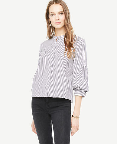 Image of Striped Poplin Puff Sleeve Shirt