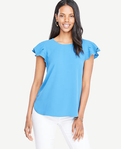 Image of Godet Flutter Sleeve Top