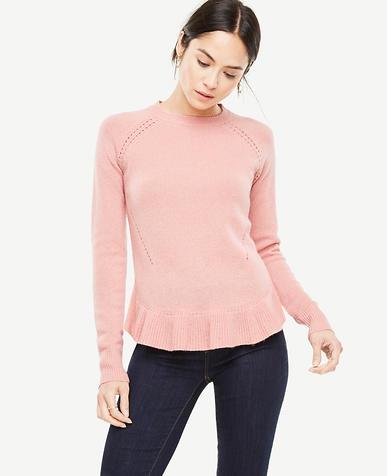 Wool Cashmere Ruffle Hem Sweater