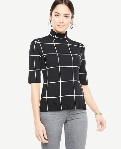 Windowpane Short Sleeve Sweater