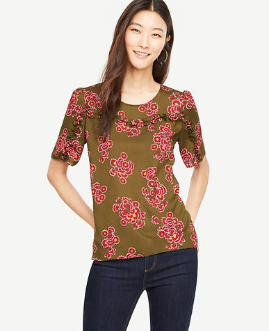 Bouquet Ruffle Trim Top