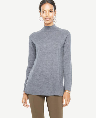 Extrafine Merino Wool Mock Neck Sweater