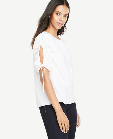 Image of Petite Ruched Sleeve Poplin Top