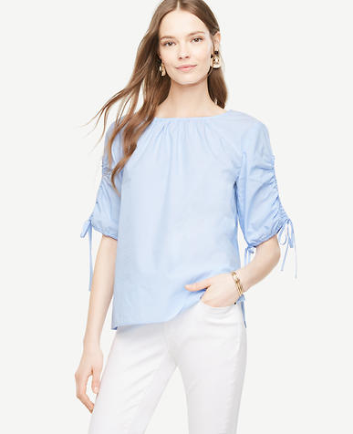 Image of Petite Stripe Ruched Sleeve Poplin Top