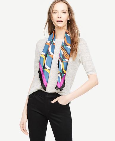 Floral Stripe Silk Fringe Scarf