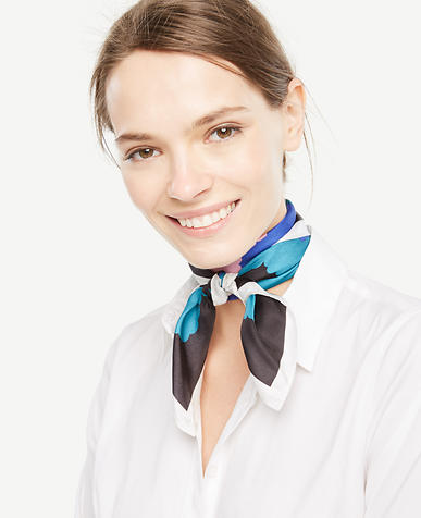 Image of Colorblocked Clouds Silk Little Scarf
