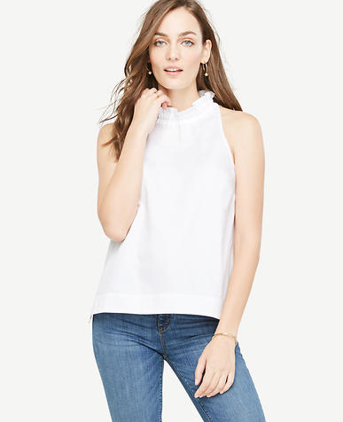 Image of Petite Ruffle Neck Bow Back Tank