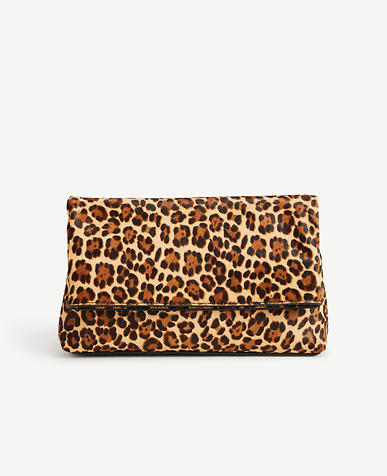 Leopard Print Haircalf Foldover Clutch