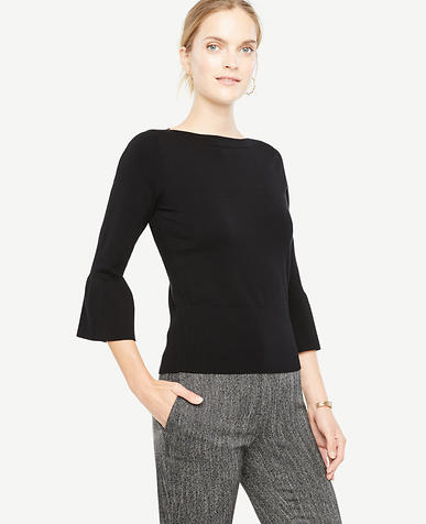 Image of Petite Bell Sleeve Boatneck Sweater