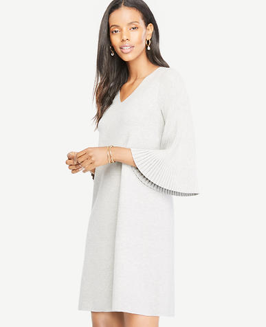 Image of Petite Pleated Sleeve Sweater Dress
