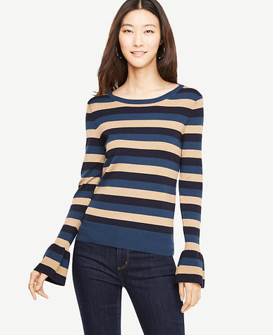 Striped Ruffle Cuff Sweater