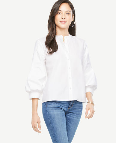 Image of Poplin Puff Sleeve Shirt