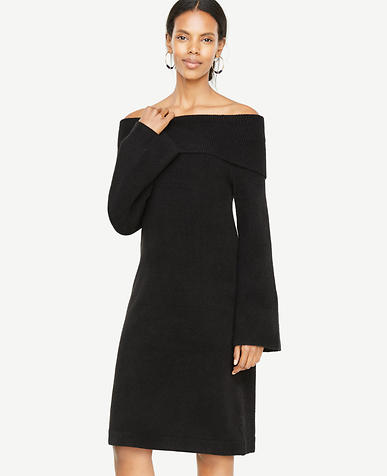 Petite Off The Shoulder Bell Sleeve Sweater Dress