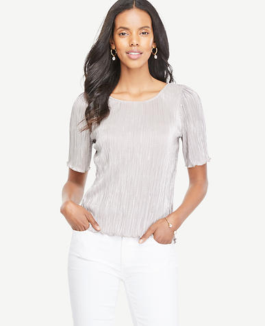 Image of Metallic Pleated Knit Tee