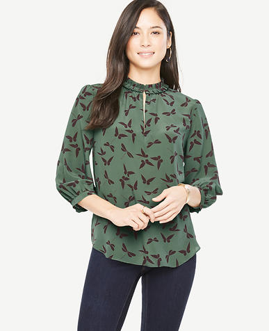 Image of Butterfly Silk Pleat Neck Blouse