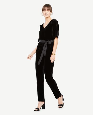 Belted Velvet Jumpsuit