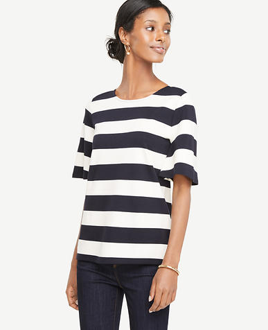 Image of Stripe Flutter Sleeve Tee
