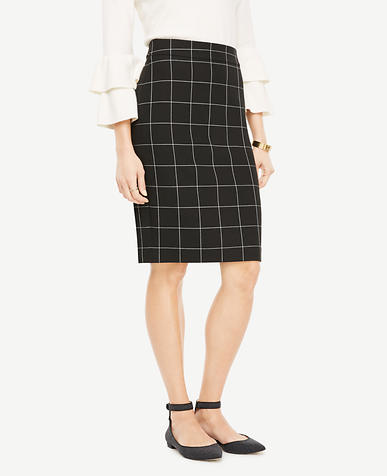 Windowpane Pencil Skirt