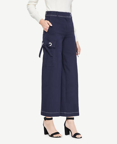 The Wide Leg Crop Pant with Grommets
