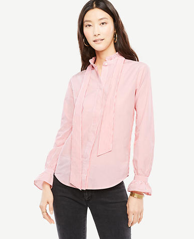 Striped Poplin Ruffle Tie Neck Blouse