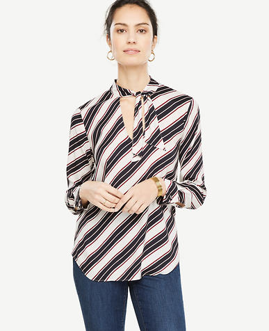 Striped Tie Neck Blouse