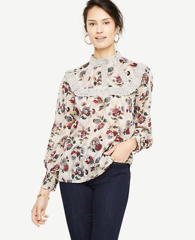 Floral Mockneck Lace Trim Blouse