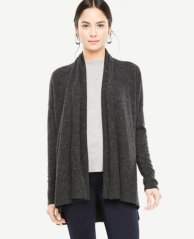 Cashmere Flecked Ribbed Open Cardigan