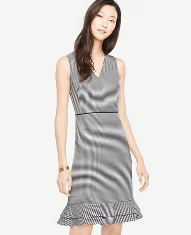 Houndstooth Flounce Sheath Dress