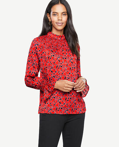 Floral Smock Neck Blouse