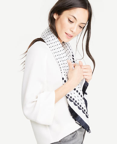 Image of Polka Dot Fringe Silk Scarf