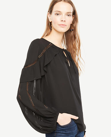 Image of Lace Trim Ruffle Top