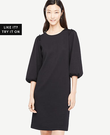 Image of Petite Puff Sleeve Knit Dress