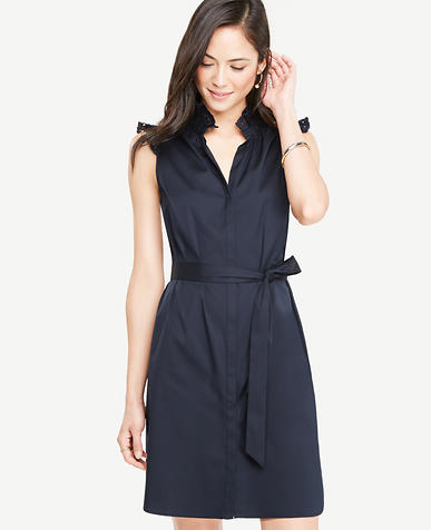 Image of Poplin Ruffle Neck Belted Shirtdress