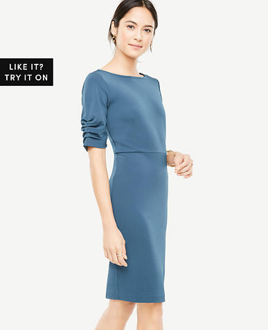 Petite Ruched Sleeve Sheath Dress