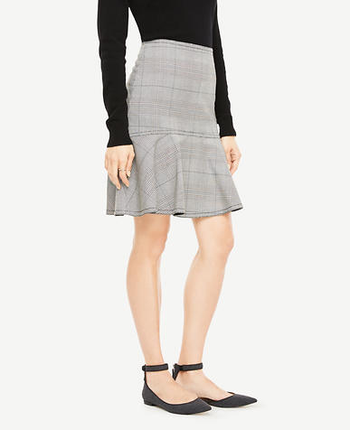 Glen Plaid Flounce Skirt