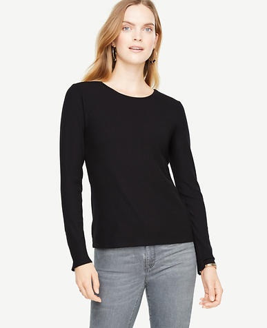 Ribbed Button Cuff Top