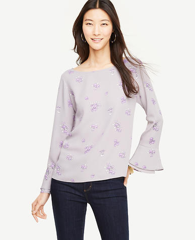 Floral Flare Cuff Blouse