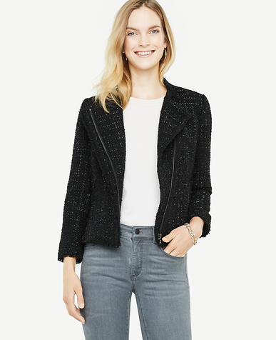 Shimmer Tweed Moto Jacket