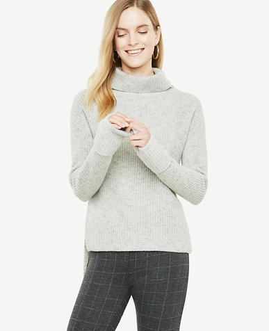 Petite Ribbed Hi-Lo Turtleneck