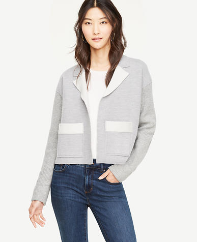 Petite Boiled Wool Knit Sleeve Jacket