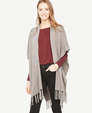 Image of Knit Fringe Poncho