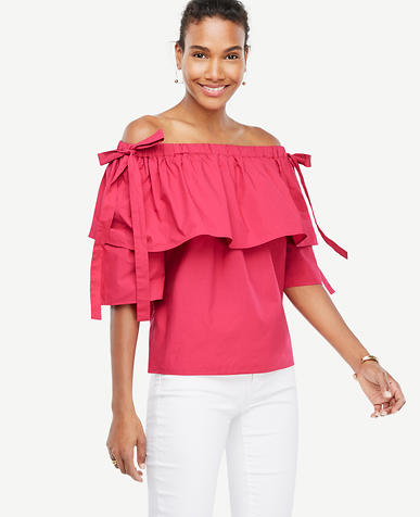 Image of Poplin Off The Shoulder Tie Sleeve Top