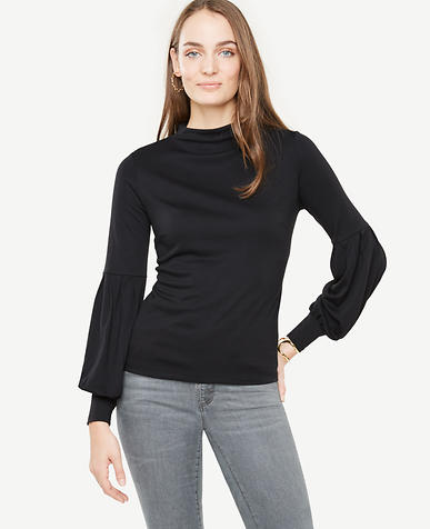 Mock Neck Lantern Sleeve Top