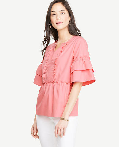 Image of Poplin Ruffle Top