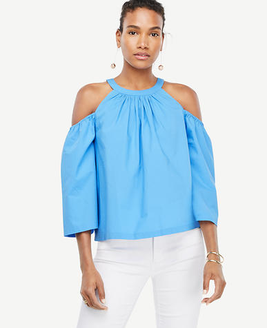 Image of Poplin Structured Cold Shoulder Top