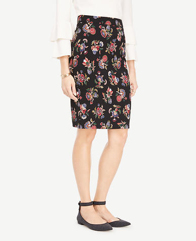 Shawl Floral Pencil Skirt