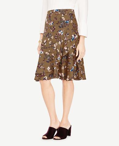 Floral Print Flounce Skirt