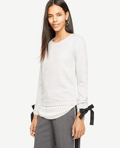 Petite Tie Sleeve Sweatshirt