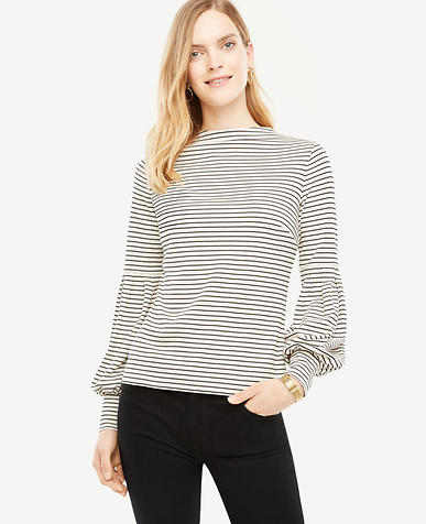 Petite Striped Mock Neck Lantern Sleeve Top