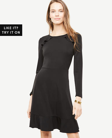 Image of Petite Knit Ruffle Flare Dress